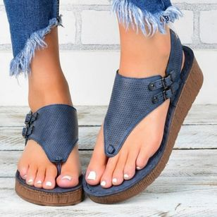 Women's Buckle Flip-Flops Cloth Wedge Heel Sandals Platforms_1