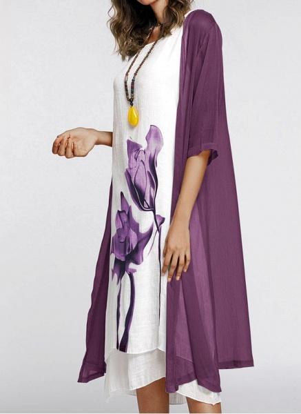 Floral Wrap Round Neckline Midi X-line Dress_12