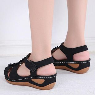 Women's Applique Closed Toe Wedge Heel Sandals_2