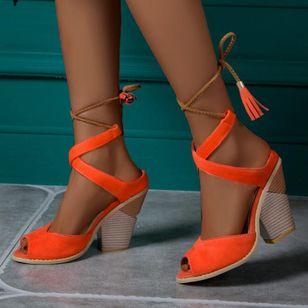 Women's Lace-up Tassel Slingbacks Nubuck Chunky Heel Sandals_3