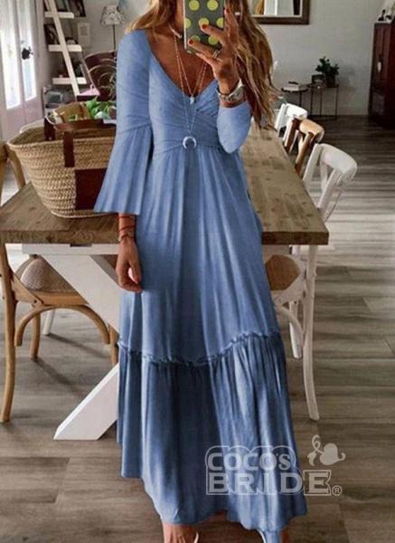 Pink Casual Color Block V-Neckline Maxi X-line Dress_4