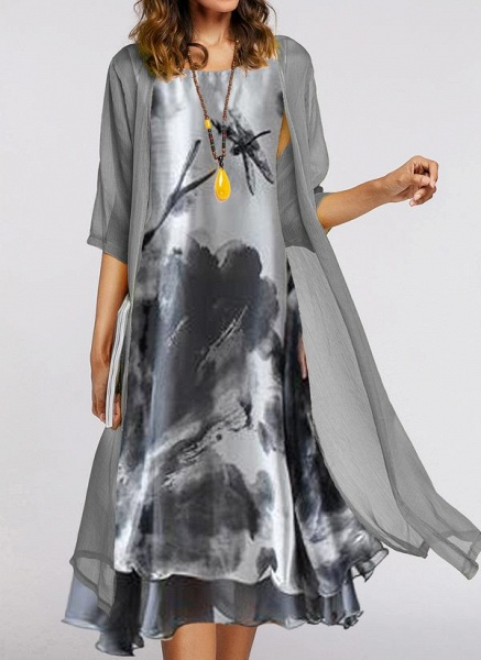 Chinese Style Color Block Wrap Round Neckline A-line Dress_1