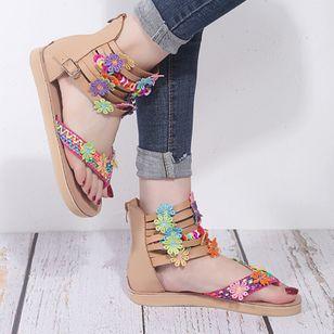 Women's Buckle Flower Flip-Flops Flat Heel Sandals_2