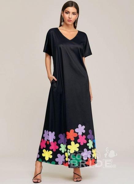 Black Plus Size Color Block V-Neckline Elegant Maxi Shift Dress Plus Dress_5