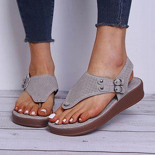 Women's Buckle Flip-Flops Flat Heel Sandals Platforms_7