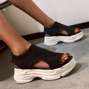 Women's Geometric Round Toe Fabric Flat Heel Sandals_2