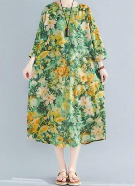 Plus Size Tunic Floral Round Neckline Casual Plus Dress_1