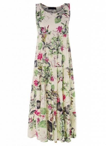 Green Plus Size Tunic Floral Round Neckline Casual Maxi Plus Dress_1