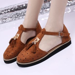 Women's Buckle Tassel Flats Flat Heel Sandals_3