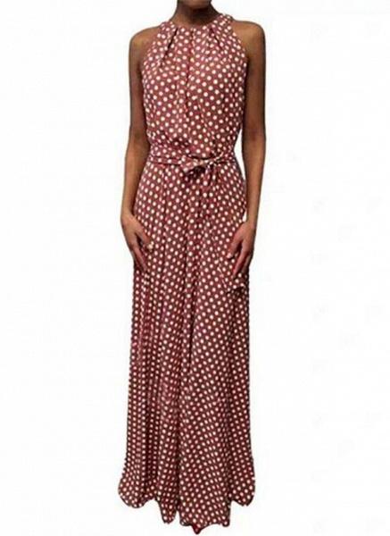 Red Casual Polka Dot Sashes Round Neckline X-line Dress_1