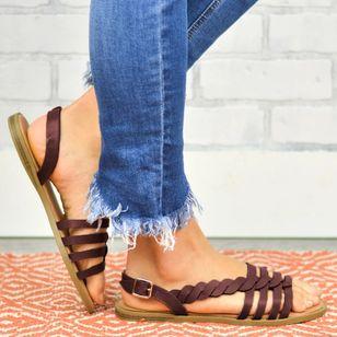 Women's Knit Round Toe Flat Heel Sandals_3