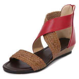 Women's Zipper Round Toe Wedge Heel Sandals_4
