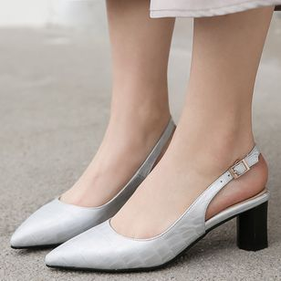Women's Buckle Pointed Toe Heels Leatherette Chunky Heel Sandals_2