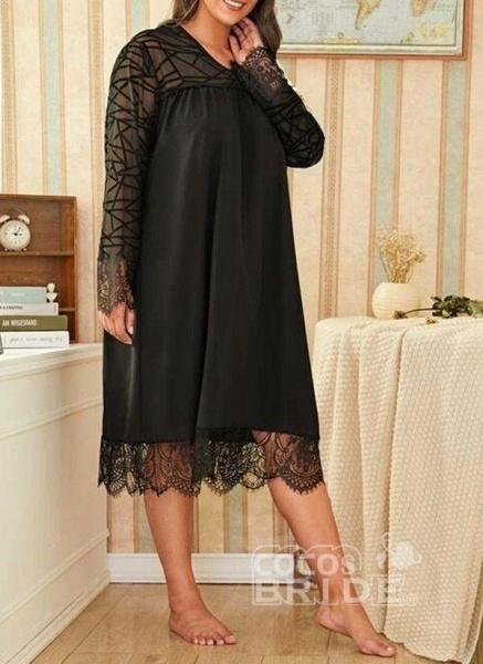 Black Plus Size Solid V-Neckline Casual Midi Shift Dress Plus Dress_3