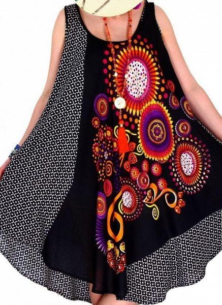 Plus Size Color Block Round Neckline Casual Knee-Length Shift Dress Plus Dress_1