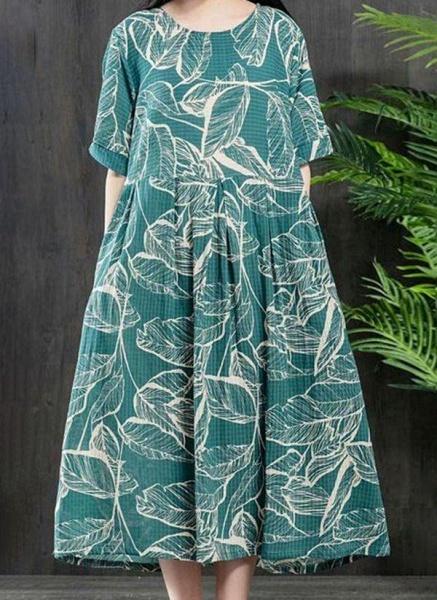 Plus Size Tunic Color Block Round Neckline Casual Midi Plus Dress_1