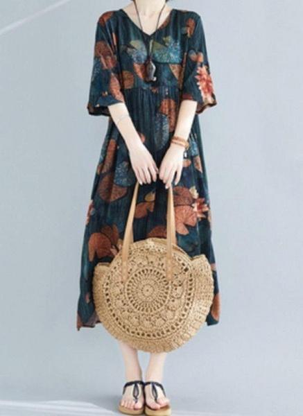 Dark Green Plus Size Tunic Floral V-Neckline Casual Midi Plus Dress_1