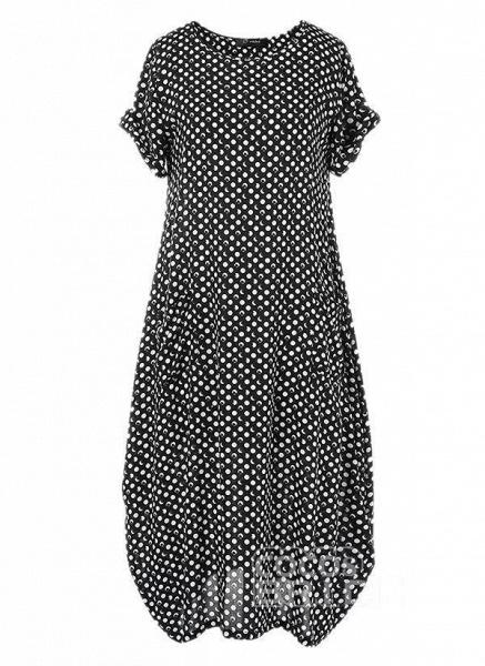 Dark Blue Tunic Polka Dot Round Neckline Casual Midi Plus Dress_4