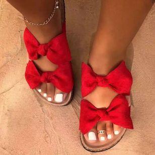 Women's Bowknot Flats Canvas Flat Heel Sandals_3
