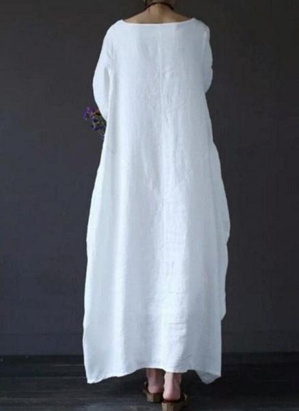 Green Plus Size Tunic Solid Round Neckline Casual Maxi Plus Dress_2