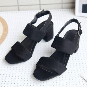 Women's Buckle Slingbacks Nubuck Chunky Heel Sandals_4