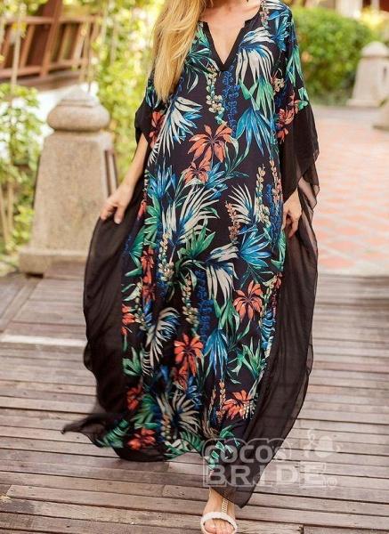 Black Plus Size Floral V-Neckline Casual Maxi Plus Dress_2