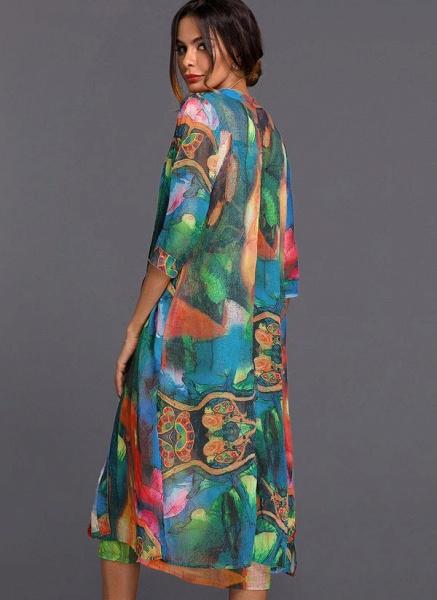 Arabian Wrap Tunic Round Neckline A-line Dress_4