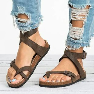 Women's Buckle Toe Ring Flat Heel Sandals_1