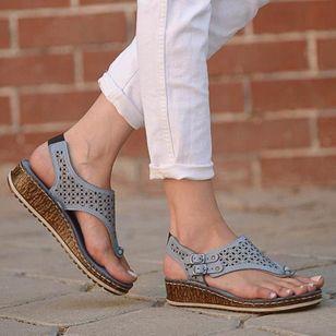 Women's Buckle Hollow-out Flip-Flops Wedge Heel Sandals_3