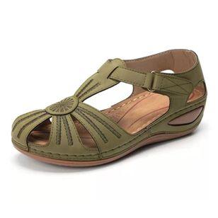 Women's Buckle Hollow-out Flats Flat Heel Sandals_2