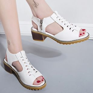 Women's Zipper Slingbacks Chunky Heel Sandals_2