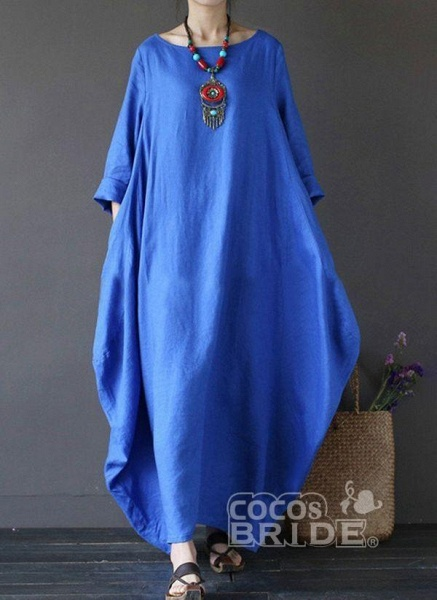 Red Plus Size Tunic Solid Round Neckline Casual Maxi Plus Dress_6