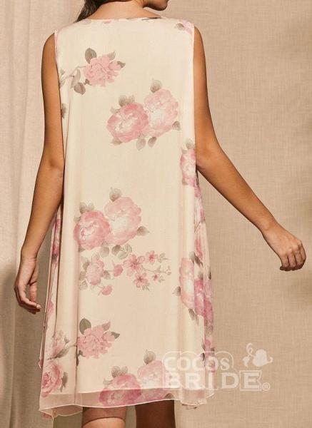 Apricot Plus Size Tunic Floral Square Neckline Basic Knee-Length Plus Dress_4