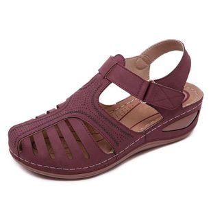 Women's Hollow-out Velcro Round Toe Flat Heel Sandals_3