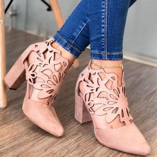 Women's Hollow-out Pointed Toe Heels Chunky Heel Sandals_3