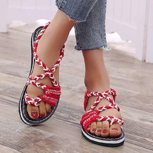 Women's Knit Toe Ring Nubuck Flat Heel Sandals_1