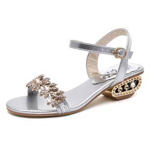 Women's Rhinestone Buckle Heels Low Heel Sandals_3