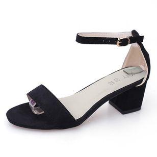 Women's Ankle Strap Peep Toe Nubuck Chunky Heel Sandals_4