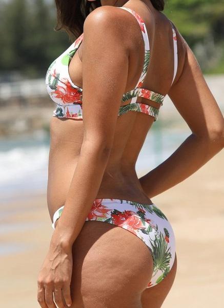 Spandex Polyester Floral Bikinis Swimwear_3