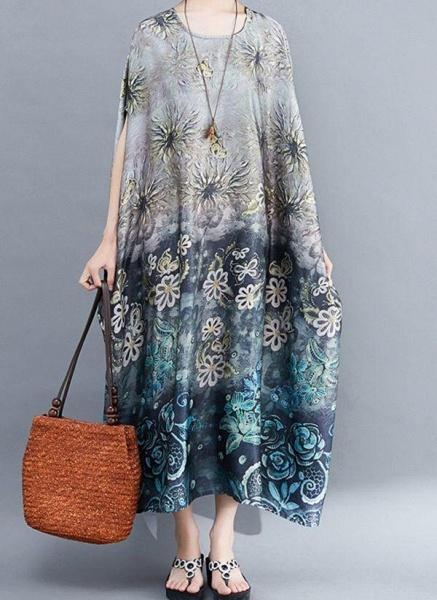 Gray Plus Size Tunic Floral Round Neckline Casual Pockets Plus Dress_1