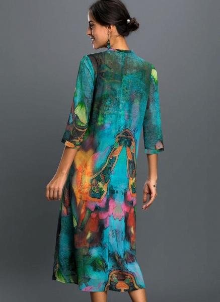 Arabian Floral Wrap Tunic A-line Dress_2