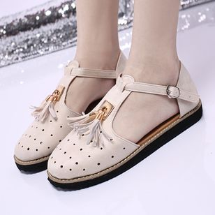 Women's Buckle Tassel Flats Flat Heel Sandals_4