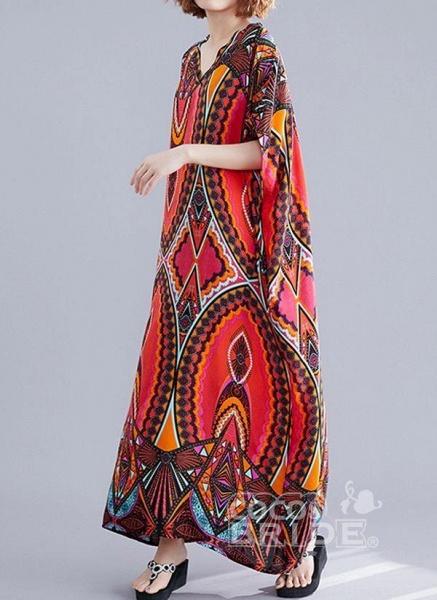 Red Plus Size Tunic Color Block V-Neckline Casual Maxi Plus Dress_3