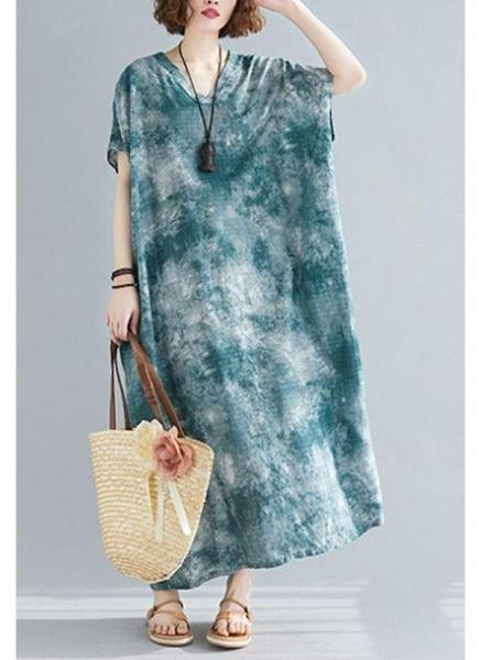 Dark Green Plus Size Tunic Color Block V-Neckline Casual Maxi Plus Dress_1
