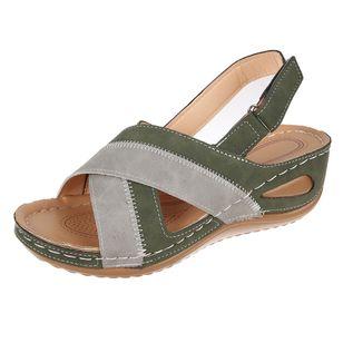 Women's Velcro Round Toe Flat Heel Sandals_2