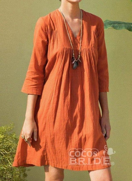 Orange Plus Size Tunic Solid V-Neckline Casual Above Knee Plus Dress_5