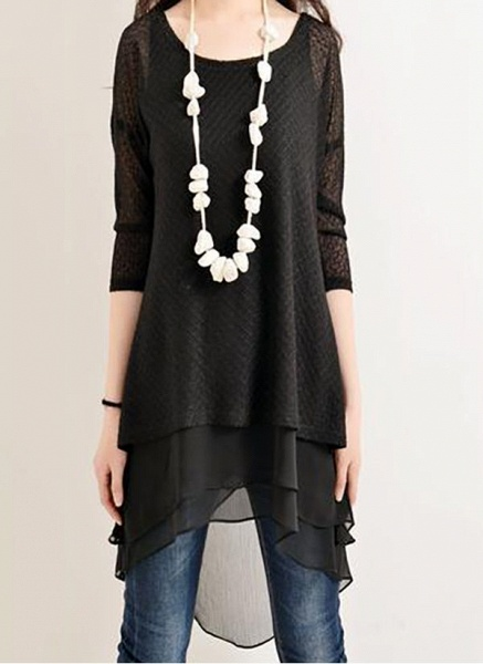 Casual Solid Hollow Out Round Neckline A-line Dress_5