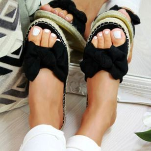 Women's Bowknot Flats Nubuck Flat Heel Sandals_3