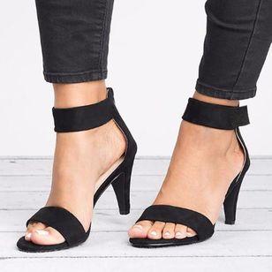 Women's Velcro Ankle Strap Heels Cloth Stiletto Heel Sandals_2