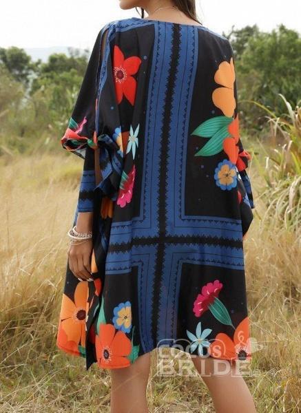 Multicolor Plus Size Floral Round Neckline Casual Bow Above Knee Plus Dress_2